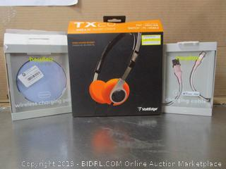 VoltEdge Headphones, Heyday Wireless Charging Pad & Cable