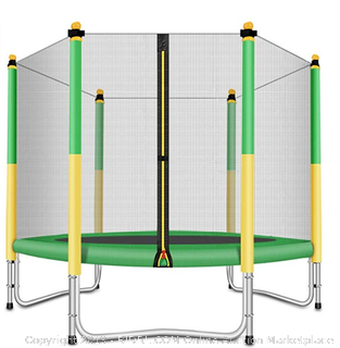 fashion sport Outfitters kids yellow and green trampoline 5ft