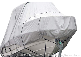 Budge 600 Denier Boat Cover fits Hard Top/T-Top Boats B-621-X8 (24' to 26' Long, Gray) (Online $299)