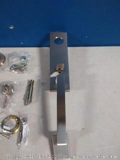 Baldwin Seattle single-cylinder satin nickel door handleset (online $203)