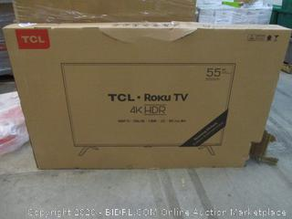 "TCL Roku TV 4K HDR 55""  see pictures Powers on"