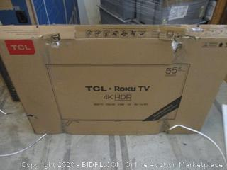 "TCL Roku TV 4K HDR 55"" Powers On See Pictures"