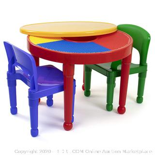 Tot Tutors Kids 2-in-1 Plastic Building Blocks-Compatible Activity Table and 2 Chairs Set (online $45)