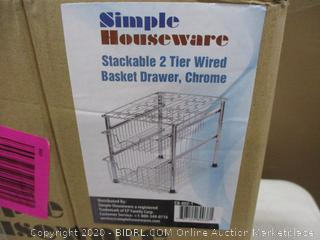 Stackable 2 Tier Wired Basket Drawer
