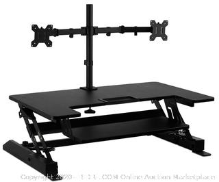 Mount-It! Standing Desk Converter with Dual Monitor Mount Included (online $194)