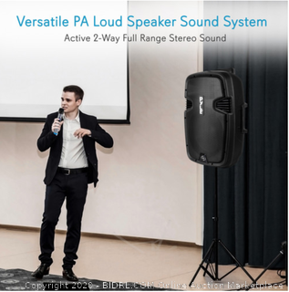 """Pyle Pro PPHP1599WU 15"""" 1600W Bluetooth 4.0 Loudspeaker System with Dual Wireless Handheld Microphones(powers on)"""