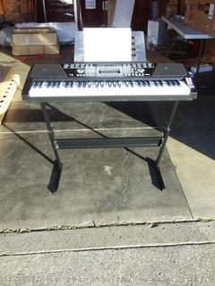RockJam 61-Key Electronic Keyboard Piano SuperKit with Stand and stool (powers on)