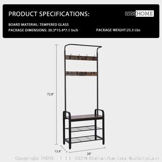 3-in-1 Entryway Hall Tree, Industrial Stand Coat Rack with Storage Bench, Wood Accent Furniture with Stable Metal Frame, 8 Hooks (online $68)