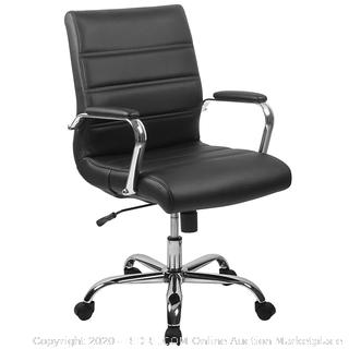 Mid-Back Black Leather Executive Swivel Office Chair  (online $100) one arm missing