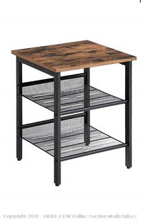 Industrial Nightstand/Side Table, End Table with Mesh Shelves