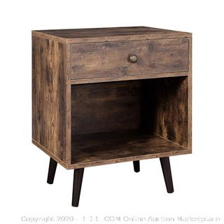 VASAGLE Nightstand, End Table with Drawer, Open Compartment, and Pinewood Legs (online $60)