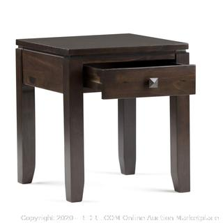 Simpli Home AXCRCOS03-MAH Cosmopolitan Solid Wood 18 inch Wide Square Contemporary End Side Table in Mahogany Brown (online $95)