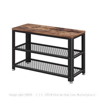 Shoe Bench, 3-Tier Shoe Rack, Storage Organizer with Seat, Industrial, Wood Look (online $55)