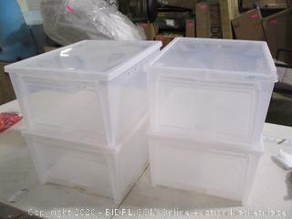 Iris USA 586430 Easy Access Men's Shoe Box 4 Pack (1 Lid Cracked)