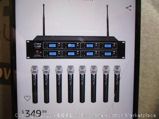 Pyle - PDWM 8325 - 8-Channel UHF Wireless Microphone Rack-Mount Reciever ($252 Retail) Powers On