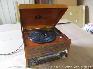1byOne - Nostalgic Wooden Turntable Wireless Vinyl Record Player with AM, FM, CD, MP3 Recording to USB, AUX