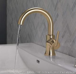 Delta Faucet Trinsic Single-Handle Bathroom Faucet with Diamond Seal Technology and Metal Drain Assembly, Champagne Bronze 559HA-CZ-DST($276 Retail)