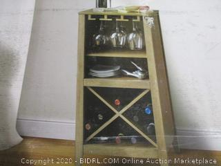 Long Valley No Tools Wine Cabinet (Grey Finish)