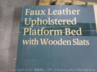Faux Leather Platform Bed w Wooden Slats