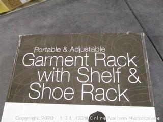 Portable & Adjustable garment rack with shelf & shoe rack