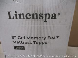 "Linenspa 3"" gel Memory foam Mattress Topper Queen"