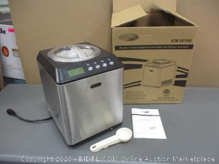 Whynter  2.1 quart Upright Ice Cream Maker  with stainless steel bowl Powers On