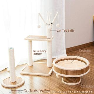 Multi-Level Cat Tree Tough Rattan Cat Tower for Activity with Big Cat Nest,Cat Tree Branch Tunnel,Cat Scratching Post (online $69)