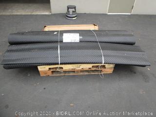 Diamond Nitro Rolls (7.5ft x 17ft each?) Garage / Workshop Vinyal Flooring - original MSRP $355 each   and Rubber-Cal Floor Mat