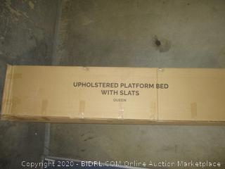 Upholstered Platform Bed with Slats Queen
