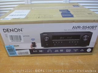 Denon AVR-S540BT 5.2 channel Receiver - 4K Ultra HD Audio Video  Bluetooth,  USB port  Compatible with HEOS Link for Wireless Music Streaming (Has Error Code)
