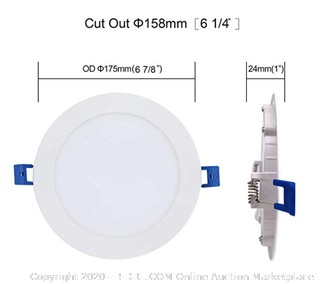 JULLISON LED 2 Pack - $30 Value - 6 Inch Recessed Low Profile Slim Panel Light with Junction Box, IC Rated Air Tight, 120VAC, 12W, 800 Lumens, 4000K Cool White, CRI80+, Dimmable, Damp, ETL + Energy Star(2 pack)