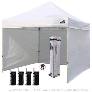 Eurmax 10'x10' Ez Pop-up Canopy Tent Commercial Instant Canopies with 4 Removable Zipper End Side Walls and Roller Bag, Bonus 4 SandBags, White (online $228)