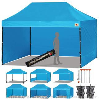 Roll over image to zoom in       ABCCANOPY Canopy Tent Popup Canopy 10x15 Pop Up Canopies Commercial Tents Market stall with 6 Removable Sidewalls and Roller Bag Bonus 4 Weight Bags and 10ft Half Wall, Sky Blue (online $349)