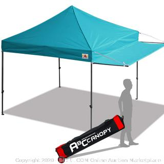 ABCCANOPY 10x10 Tent Pop-up Canopy Tent Instant Canopies Commercial Outdoor Canopy with Awning & Wheeled Carry Bag Bonus 4X Weight Bag, (Turquoise) online $169