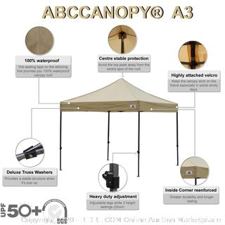 ABCCANOPY Pop up Canopy Tent Commercial Instant Shelter with Wheeled Carry Bag, Bonus 4 Canopy Sand Bags, 10x10 FT (Beige) Factory sealed (online $159)
