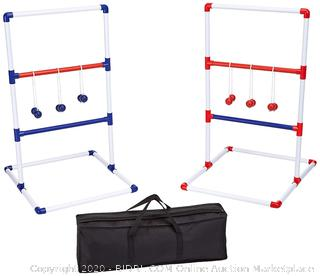 AmazonBasics Ladder Toss Outdoor Lawn Game Set with Soft Carrying Case - 40 x 24 Inches, Red and Blue (online $36)