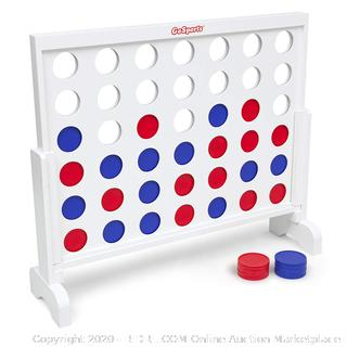 GoSports Giant Wooden 4 in a Row Game | Choose Between Classic White or Dark Stain | 3 Foot Width - Jumbo 4 Connect Family Fun with Coins, Case and Rules (online $89)