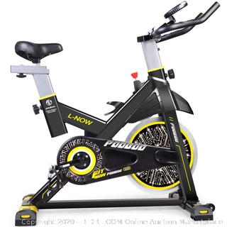 Indoor Cycling Bicycle, Belt Drive Indoor Exercise Bike,Stationary Exercise LCD Display Bicycle Heart Pulse Trainer Bike Bottle Holder Factory sealed (online $309)