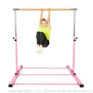 SHIWEI Gymnastics Training Bar- Height Adjustable 3' to 5' Horizontal Kip Bar for Kids pink (online $156)