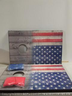 Wild Sports Stars and Stipes Cornhole Set, Flag on Distressed Wood, Two 2' x 3' Boards and 8 Bags (online $59) crack on backside