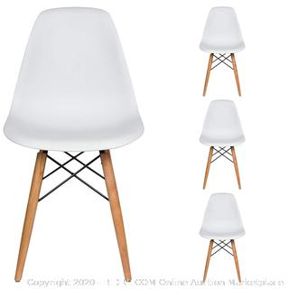 Liani mid-century modern Chairs set of 4 white(Factory Sealed)COME PREVIEW!!!!! (online $139)