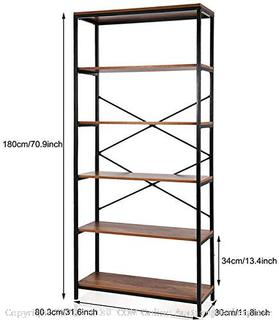 Papafix tall bookshelf modern wood metal open Industrial 5-tier(Factory Sealed) COME PREVIEW!!!!! (online $134)