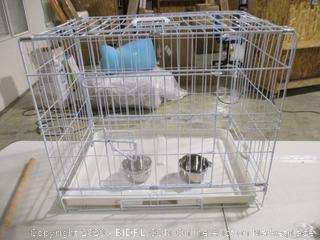 "Pet Cage w/ Food & Water Bowls (16.5"" x 20"")"