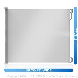 "Perma Indoor/Outdoor Retractable Baby Gate 41"" Tall, Extends to 71"" Wide, Gray (online $52)"