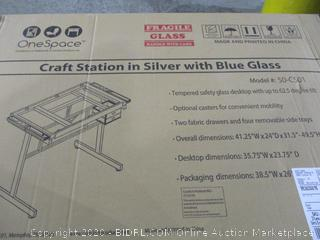 Craft station in silver with blue glass