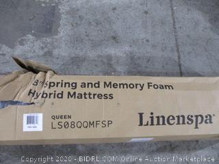 "Linenspa 8.5"" spring and Memory foam Hybrid Mattress queen"