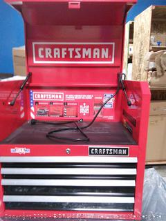 CRAFTSMAN 4-Drawer Steel Tool Chest Red with integrated power strip with six outlets and two USB ports (online $249) some scuffs PLEASE PREVIEW