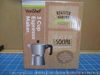 Von Shef 3 Cup Espresso Maker