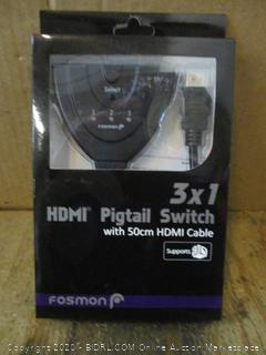 3X1 HDMI Pigtail Switch with 50cm HDMI Cable