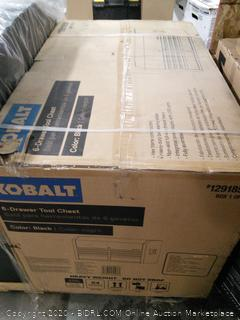 Kobalt 41-in W x 63.4-in H 12 Ball-bearing Steel Tool Chest Combo Black (online $473) some bottom damage, see photos